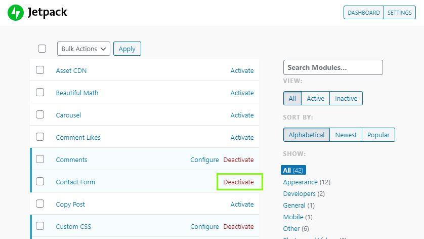 Screenshot of Jetpack Modules screen