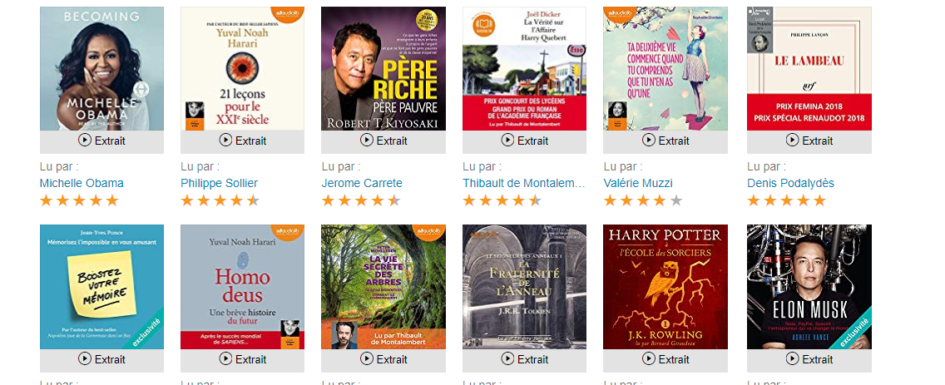 Screenshot of Audible in French