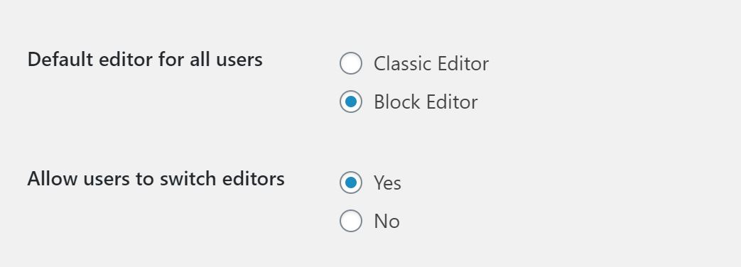 Screenshot of the classic editor site settings