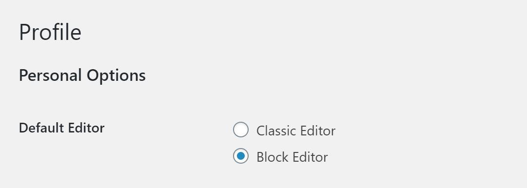 Screenshot of the classic editor profile settings